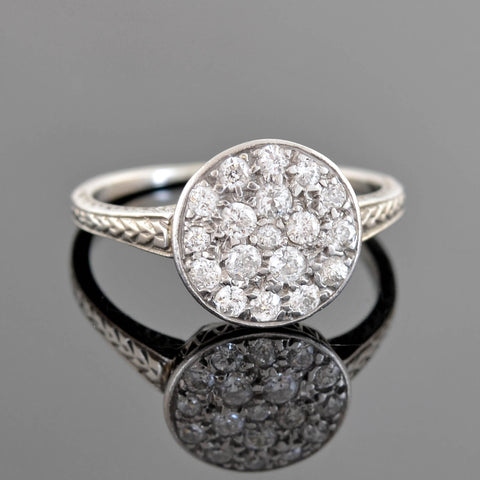 Edwardian Platinum Rose Cut Diamond Filigree Ring 1.00ctw