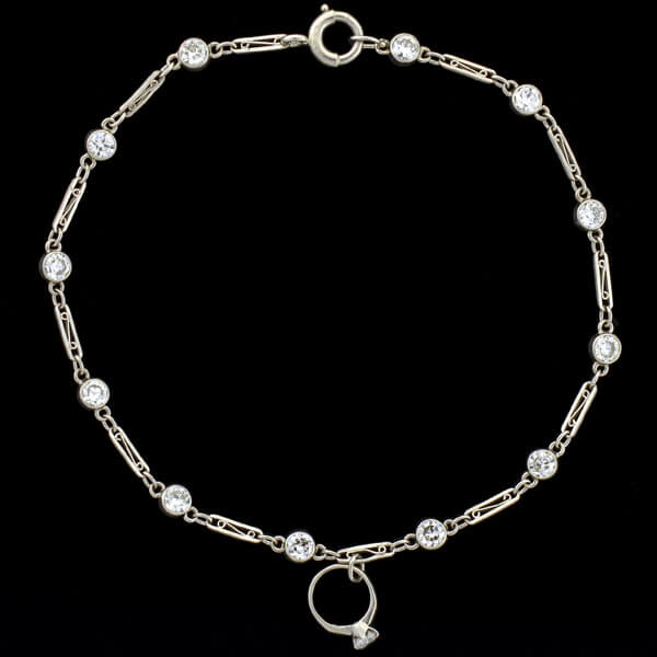 Art Deco Platinum Diamond Link & Mini Engagement Ring Charm Bracelet