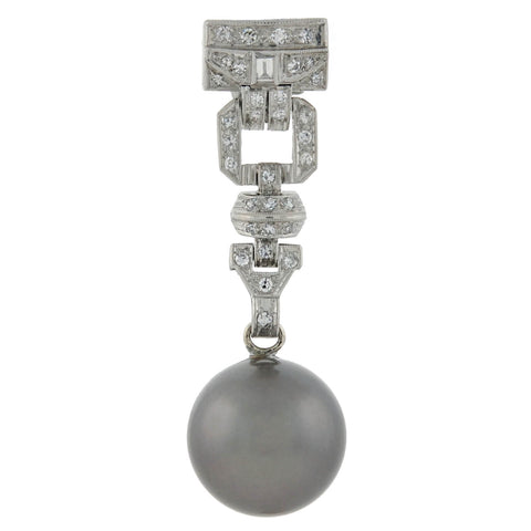 Art Deco Platinum 13.5mm Black Tahitian Pearl + Diamond Earrings 1.00ctw