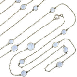 Edwardian Long Platinum Moonstone Chain Necklace 54