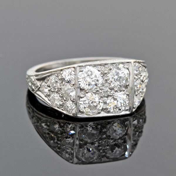 Art Deco Platinum Clustered Multi-Diamond Ring 1.75ctw