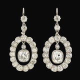 Edwardian Platinum Cushion Cut Diamond Halo Earrings 6.20ctw