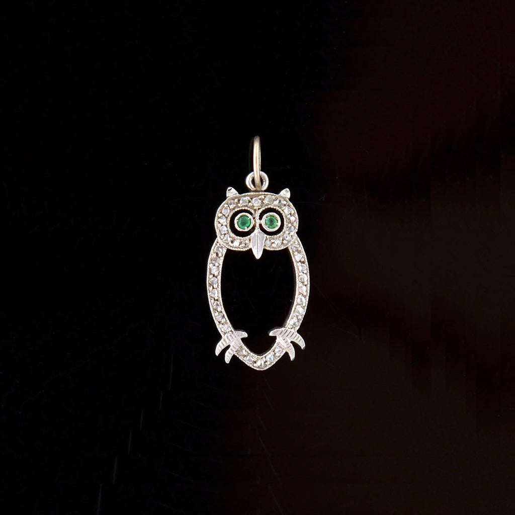 Late Art Deco Platinum Diamond + Emerald Owl Charm