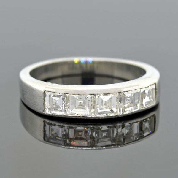 Vintage Platinum Square Cut Diamond Half Band 1.25ctw