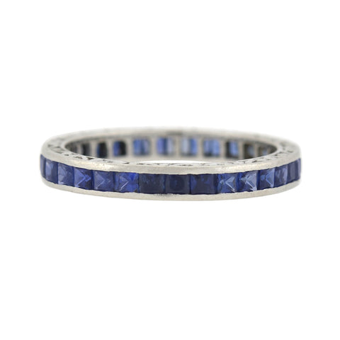 Art Deco Platinum Square Cut Sapphire Eternity Band