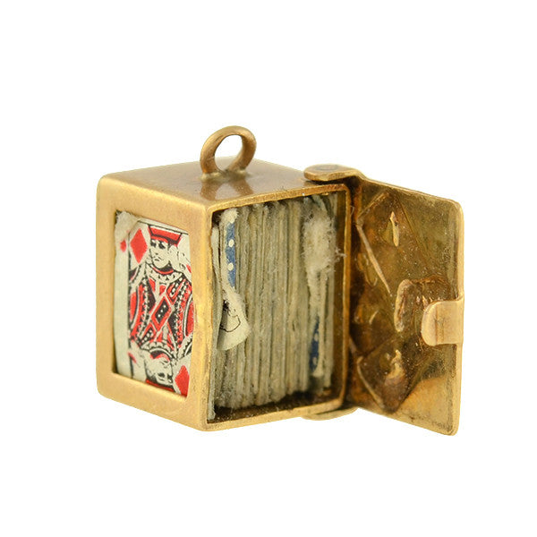 Vintage 14kt Miniature Deck Of Playing Cards Charm A