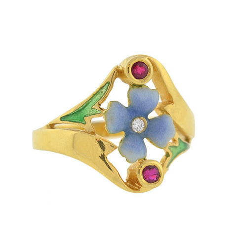 Art Nouveau 18kt Plique-A-Jour Ruby & Diamond Flower Ring