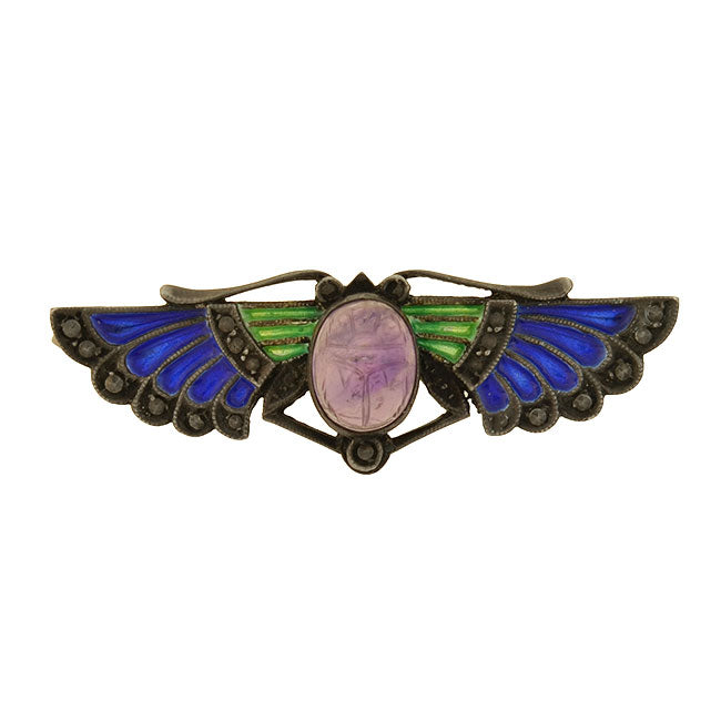Art Deco Sterling Plique-a-jour Amethyst Scarab Pin