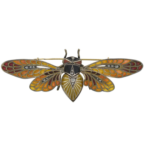 Art Nouveau Large 14kt/Sterling Plique-a-jour + Diamond Moveable Winged Insect Pin