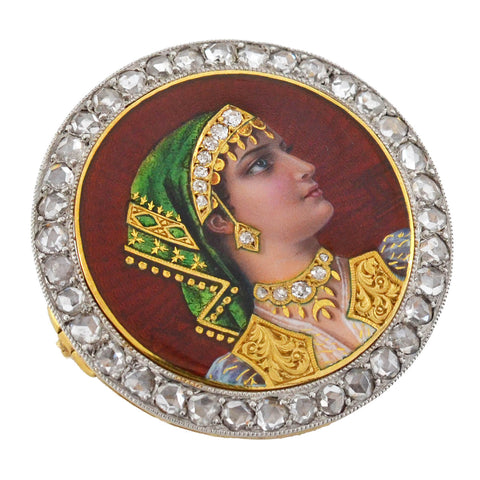 PLOJOUX Edwardian 18kt/Platinum Diamond + Guilloché Enamel Portrait Pin