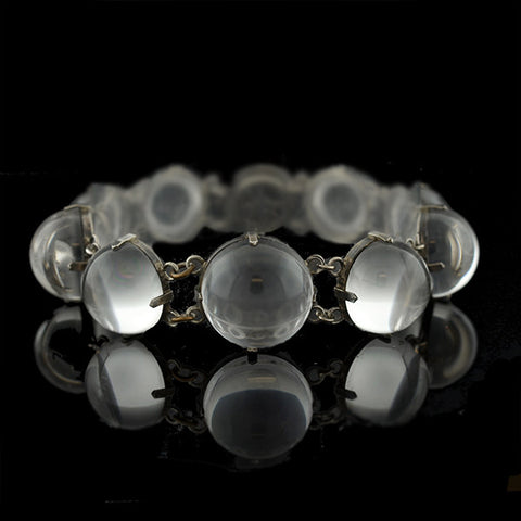 "Art Deco Sterling & Rock Quartz Crystal ""Pools of Light"" Bracelet"