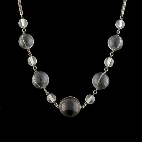 "Art Deco Sterling Rock Crystal ""Pools of Light"" Necklace"
