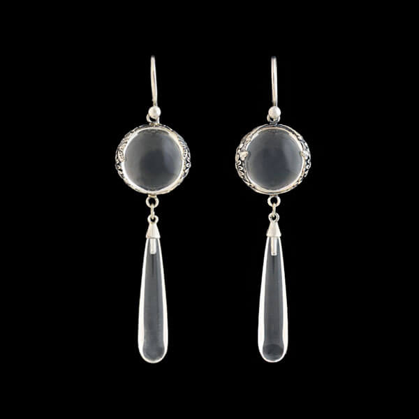 "Art Deco Sterling Rock Crystal ""Pools of Light"" Teardrop Earrings"