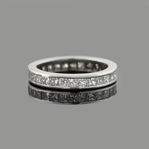 Estate Platinum Princess Cut Diamond Eternity Band 1.00ctw