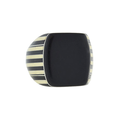 "Art Deco ""Prison Style"" Black & White Striped Celluloid Ring"
