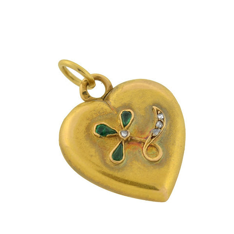 Victorian Petite 18kt Emerald & Diamond Trefoil Heart Locket