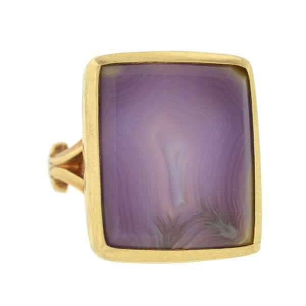 Early Victorian 14kt Gold & Purple Agate Ring