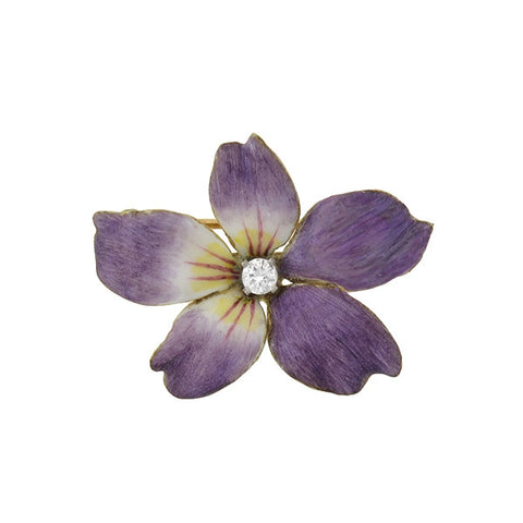 Vintage 14kt Purple Enamel & Diamond Flower Pin