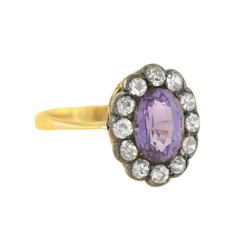 Victorian Sterling/18kt 1.50ct Natural Purple Spinel + Diamond Ring