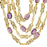 Early Retro Gold-Plated Fancy Link + Faux Amethyst Guard Chain Necklace 44