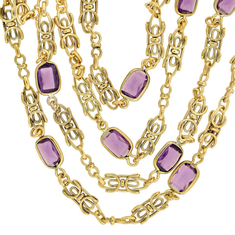 Early Retro Gold-Plated Fancy Link + Faux Amethyst Guard Chain Necklace 44""