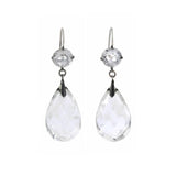 Late Art Deco Silver Faceted Rock Crystal Teardrop Earrings