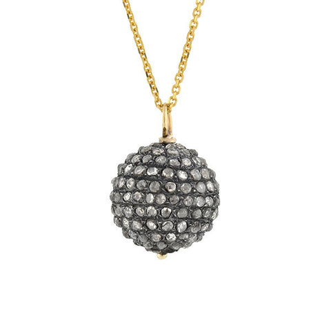 Victorian Sterling & 14kt Rose Cut Diamond Ball Pendant Necklace
