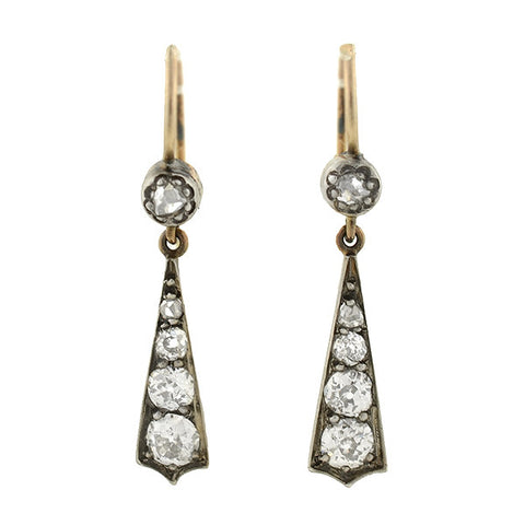 Victorian Petite Sterling & 14kt Diamond Drop Earrings .75ctw