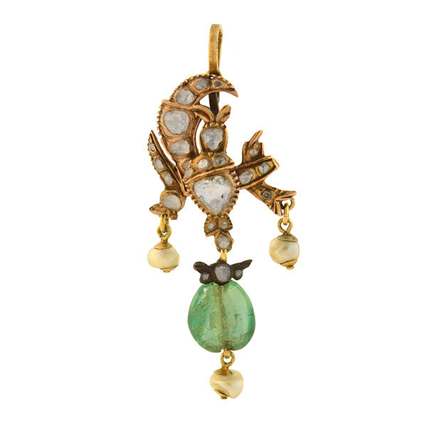 Early Victorian 15kt/Sterling Diamond, Emerald + Pearl Pendant