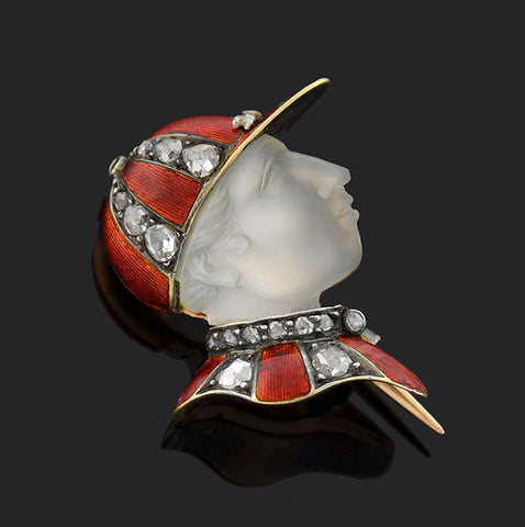 "Victorian French 18kt Enamel Diamond & Moonstone ""Fred Archer"" Jockey Pin"