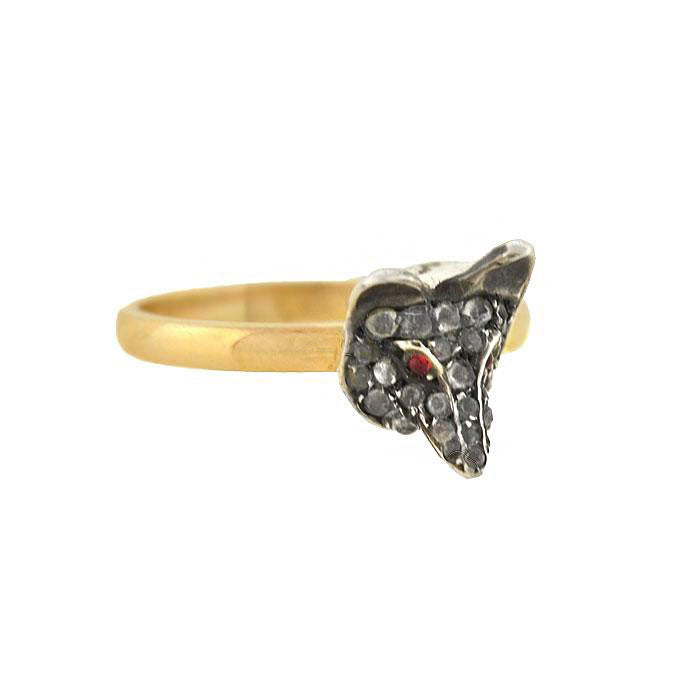 Victorian Sterling/14kt French Paste Fox Ring