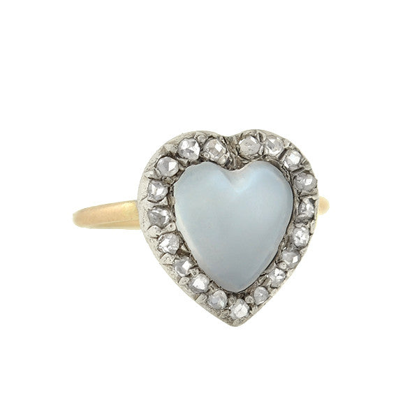 Victorian 14kt/Silver Moonstone Diamond Heart-Shaped Cluster Ring