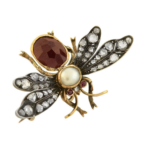 Victorian 18kt Garnet, Diamond, Pearl + Ruby Bug Pin