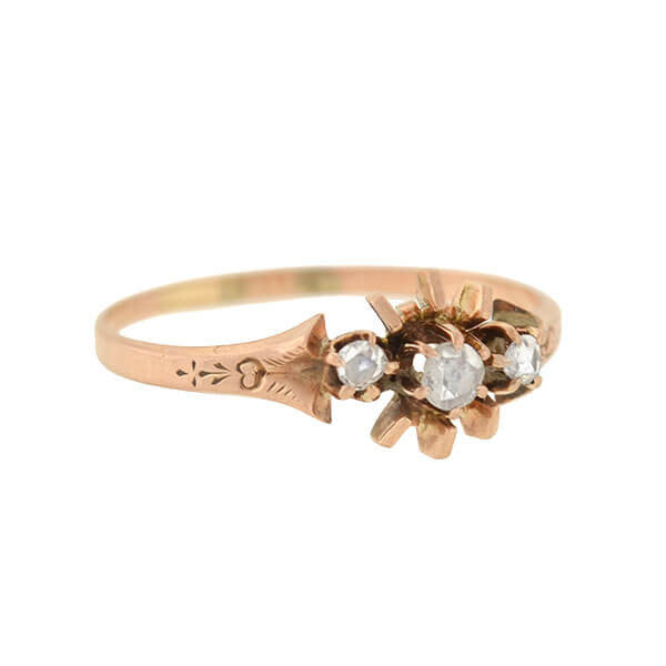 Victorian Petite 14kt Rose Cut Diamond 3-Stone Ring