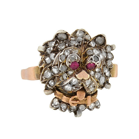 Victorian 10kt/Silver Rose Cut Diamond & Ruby Dog Ring
