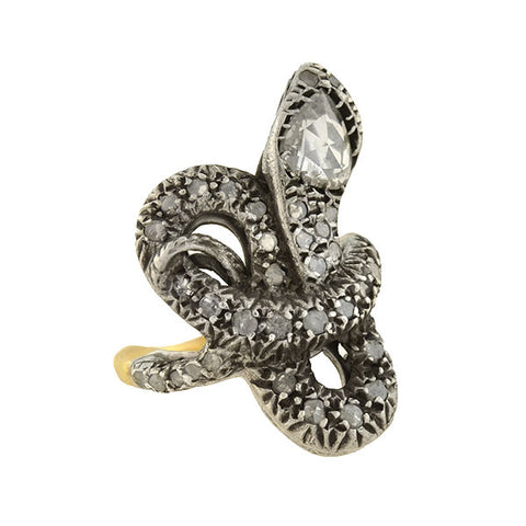 Estate Victorian Style Mixed Metals Diamond Snake Ring 0.50ctw