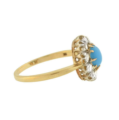 Late Victorian Turquoise & Rose Cut Diamond Ring .50ctw