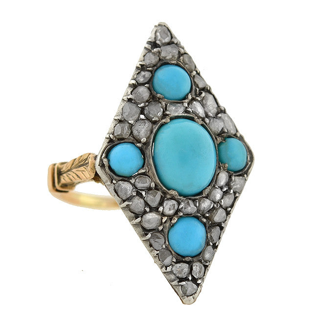 Victorian 18kt & Sterling Turquoise & Rose Cut Diamond Ring