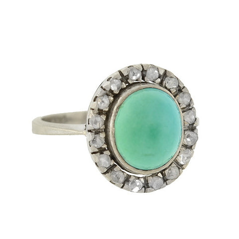 Art Deco 18kt Turquoise & Rose Cut Diamond Ring