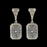 Art Deco 14kt Rock Quartz Crystal & Diamond Earrings