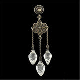 Art Deco Sterling & Rock Quartz Crystal Earrings