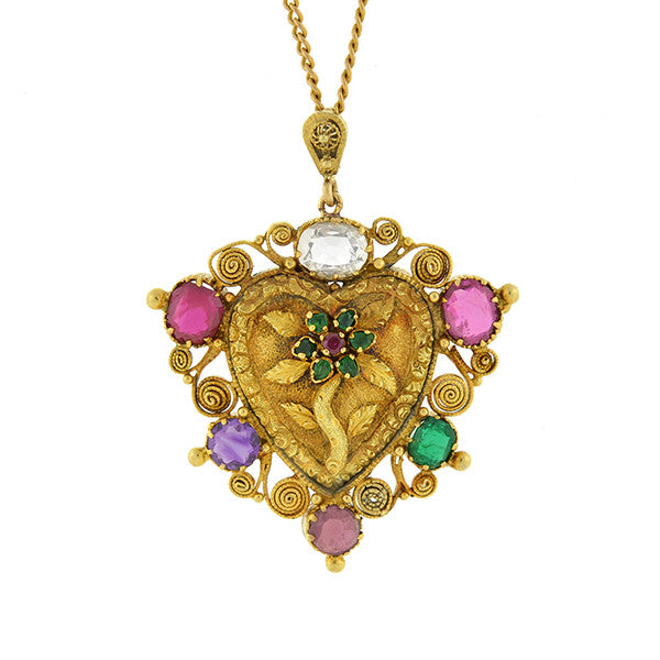 "Victorian 18kt ""REGARD"" Gemstone Floral Heart Necklace"