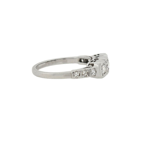 Art Deco Platinum Diamond 3-Stone Ring 0.45ctw