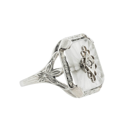 Art Deco 18kt Rock Quartz Crystal Diamond Filigree Ring