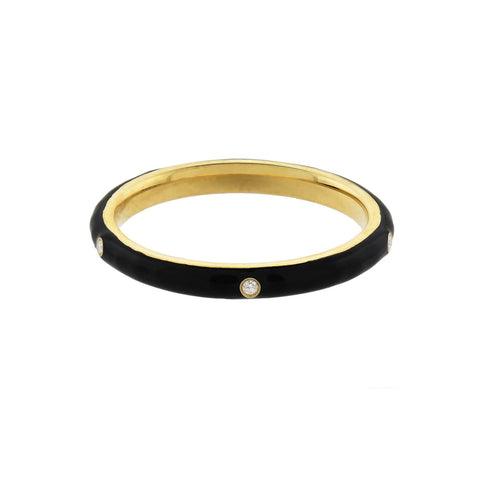 Estate 14kt Gold Black Enamel + Diamond Band Ring