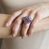 Estate Large Sterling Gilt Amethyst + White Topaz Ring