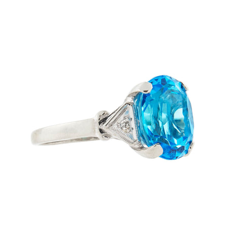 Estate 14kt Swiss Blue Topaz + Diamond Ring 3.00ct