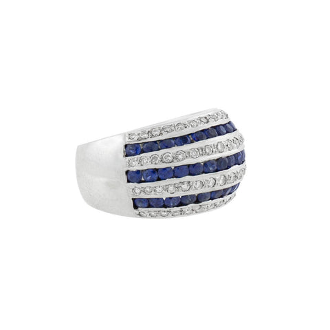 Estate 18kt Diamond + Sapphire Striped Dome Ring