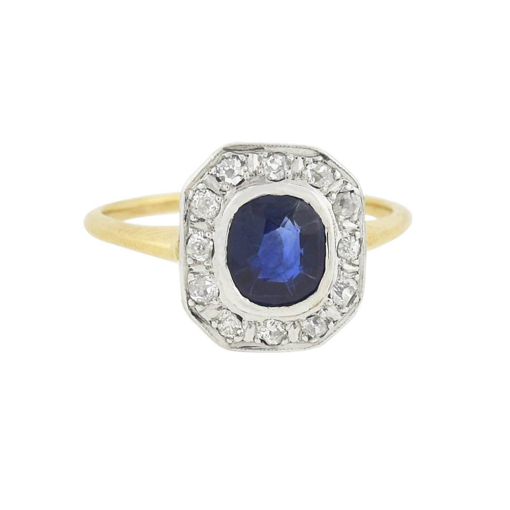 Edwardian Platinum/14kt Sapphire + Diamond Ring 1.25ct center
