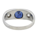 Edwardian Platinum 1ct Sapphire + Diamond 3-Stone Ring